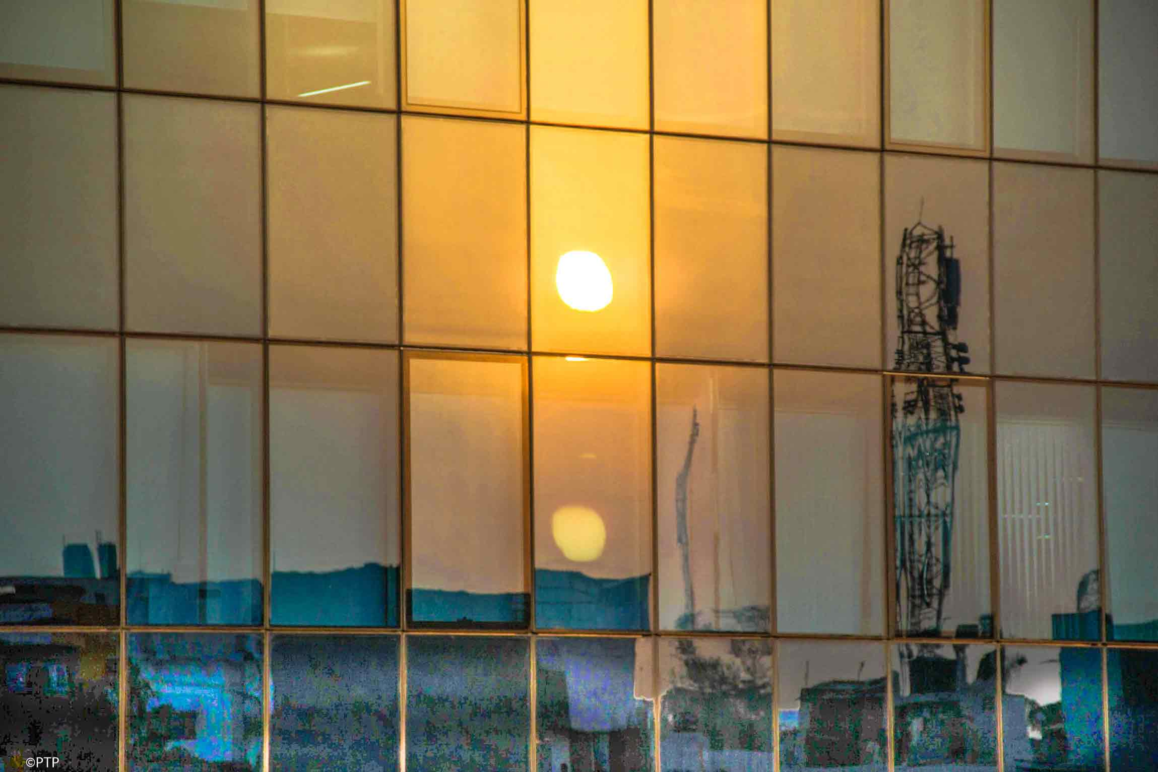 Sun set Reflection in the glass